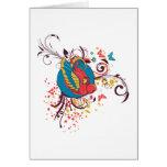 pretty bird and butterflies vector art greeting card