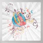 pretty bird and butterflies vector art poster