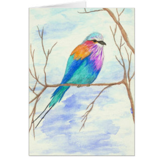 Pretty Bird, Lilac Breasted Roller, Watercolor Art Card