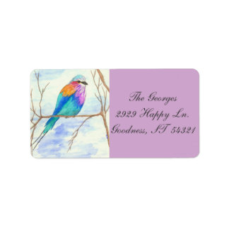 Pretty Bird, Lilac Breasted Roller, Watercolor Art Label