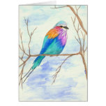 Pretty Bird, Lilac Breasted Roller, Watercolor Art Greeting Card