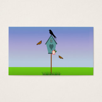 Pretty Bird Silhouette on top a Blue Birdhouse Business Card