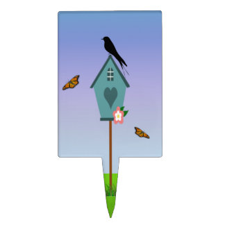 Pretty Bird Silhouette on top a Blue Birdhouse Cake Topper