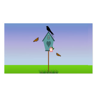 Pretty Bird Silhouette on top a Blue Birdhouse Double-Sided Standard Business Cards (Pack Of 100)