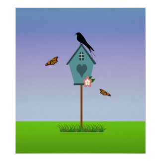 Pretty Bird Silhouette on top a Blue Birdhouse Poster