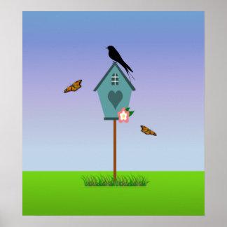 Pretty Bird Silhouette on top a Blue Birdhouse Poster