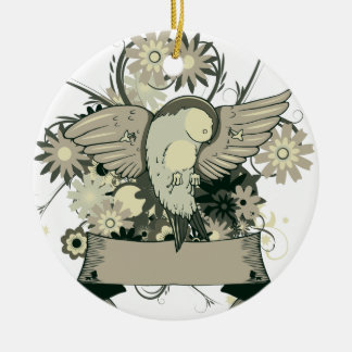 pretty bird with banner and floral vector art christmas tree ornament