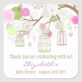 Pretty Birdcages Baby Shower Thank You Sticker