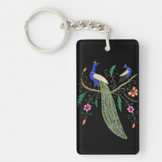 Pretty Birds And Flowers Keychain