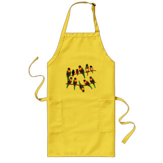 Pretty birds - parrots and finches long apron