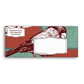 Pretty Birds Sparrows Red Blue Color Block Design Envelope