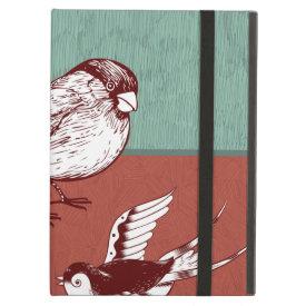 Pretty Birds Sparrows Red Blue Color Block Design iPad Folio Case