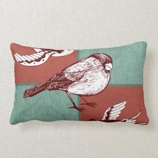 Pretty Birds Sparrows Red Blue Color Block Design Throw Pillows