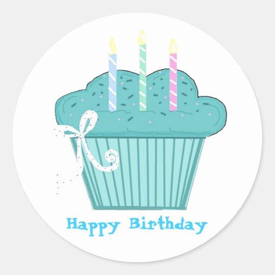 Pretty Birthday Cupcake Classic Round Sticker