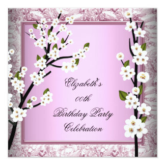 Pretty Birthday Party Pink White Blossoms Announcements