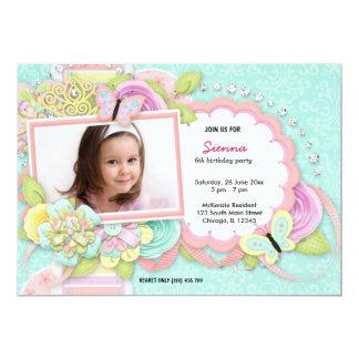 "Pretty birthday theme 5"" x 7"" invitation card"