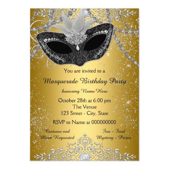 Pretty Black And Gold Masquerade Party Invitation Zazzle Com