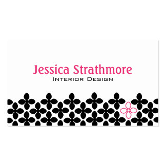 Pretty Black and Pink Flowers Double-Sided Standard Business Cards (Pack Of 100)