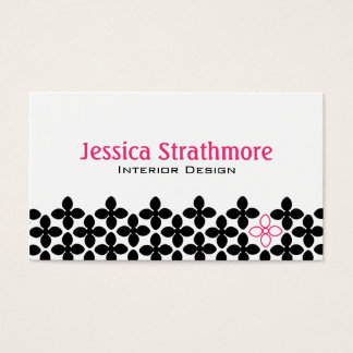 Pretty Black and Pink Flowers Business Card