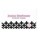Pretty Black and Pink Flowers Business Cards