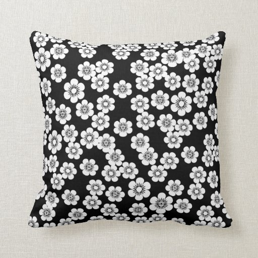Black And White Patterned Throw Pillows : Pretty Black and white floral print pattern Throw Pillows Zazzle
