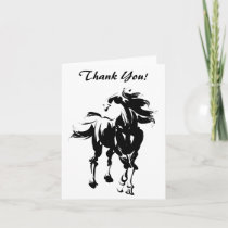 Pretty Black and White Horse Thank You Card