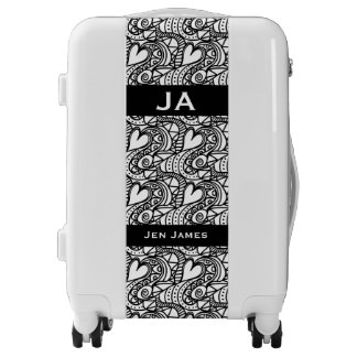 Pretty black and white monogram luggage trolley