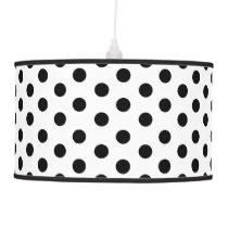 Pretty Black and White Polka Dot Pattern Hanging Lamp