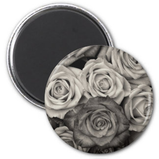 Pretty Black and White Roses Bouquet of Flowers 2 Inch Round Magnet
