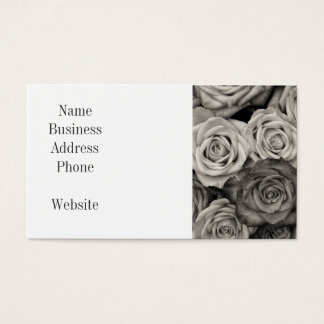 Pretty Black and White Roses Bouquet of Flowers Business Card