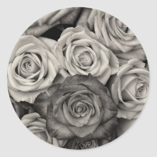 Pretty Black and White Roses Bouquet of Flowers Classic Round Sticker