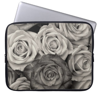 Pretty Black and White Roses Bouquet of Flowers Computer Sleeve