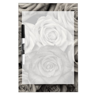 Pretty Black and White Roses Bouquet of Flowers Dry Erase Board