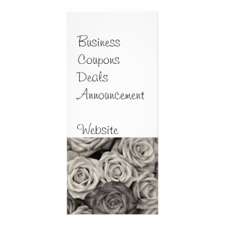 Pretty Black and White Roses Bouquet of Flowers Rack Card