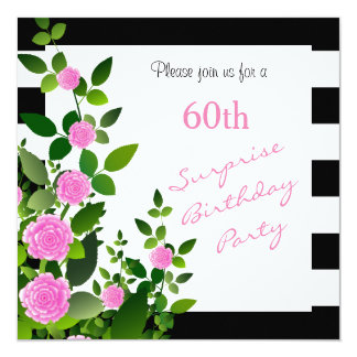 Pretty Black and White Stripes with Pink Roses Card