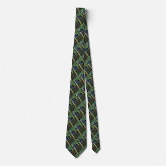 Pretty Black, Blue and Green Hummingbird Neck Tie