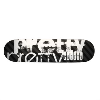 Pretty; Black & Dark Gray Stripes Skateboard