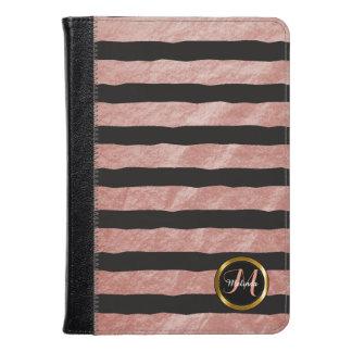 Pretty Black & Dusty Rose Stripe Pattern Kindle Case