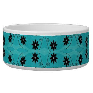 pretty black flowers pattern on turquoise dog food bowl