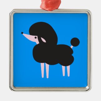 Pretty Black french poodle nose in the air Square Metal Christmas Ornament