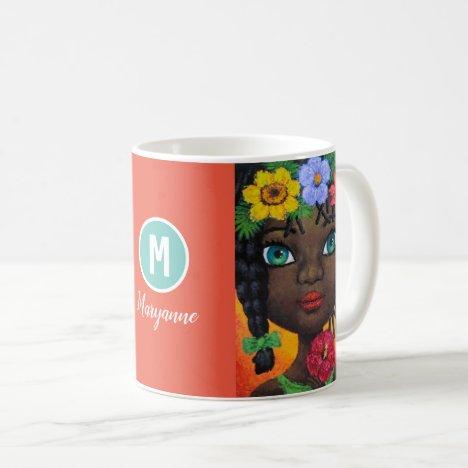 Pretty Black Girl Afro Braided Hair Monogram Name Coffee Mug