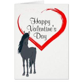 Pretty Black Horse and Heart Happy Valentine's Day Card