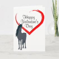 Pretty Black Horse and Heart Happy Valentine's Day Holiday Card