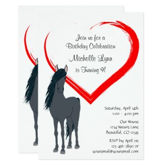 Pretty Black Horse and Red Heart Birthday Invite