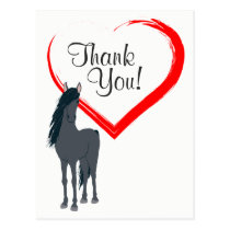 Pretty Black Horse and Red Heart Thank You Postcard