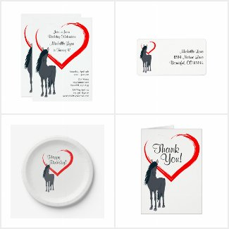 Pretty Black Horse n Red Heart Birthday Collection
