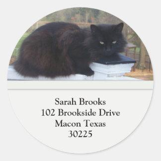 Pretty Black Kitty Address Labels Classic Round Sticker