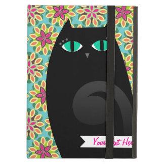 Pretty Black Kitty on Floral - Custom iPad Case
