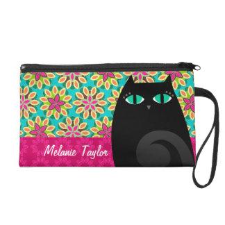 Pretty Black Kitty on Floral - Custom Mini Bag Wristlet Clutch