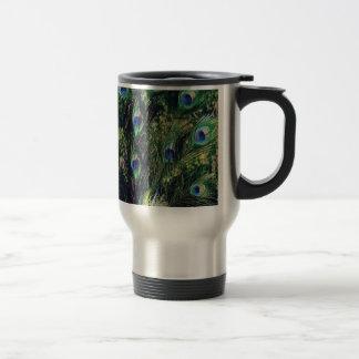 Pretty Black Peacock Travel Mug